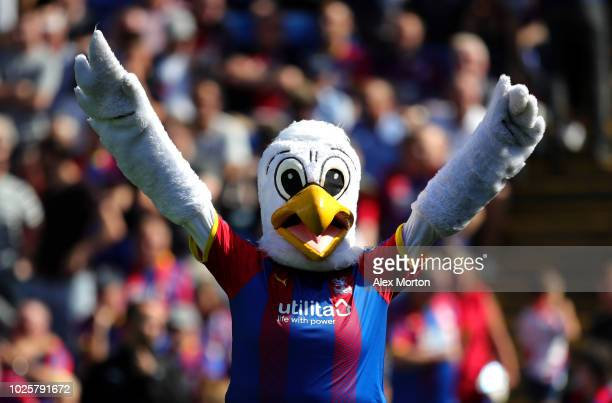 Crystal Palace mascot Pete the eagle waves to fans ahead of the Premier League match between Crystal Palace and Southampton FC at Selhurst Park on...