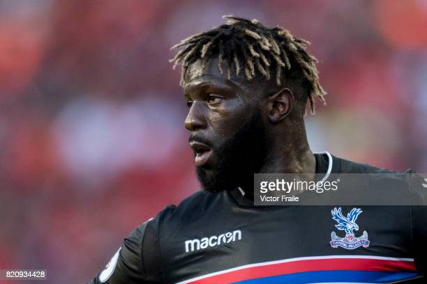 Crystal Palace midfielder Bakary Sako reacts during the Premier League Asia Trophy match between West Brom and Crystal Palace at Hong Kong Stadium on...