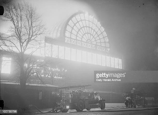 Crystal Palace on fire 30 November 1936 Fire engines at the Crystal Palace Sydenham London After housing the Great Exhibition in 1851 the Crystal...