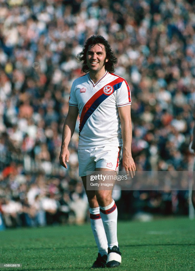Crystal Palace player Gerry Francis raises a smile during a match in 1979. Francis played over 50 games for Palace between 1979 and 1981.