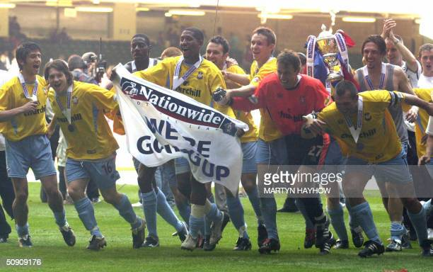 Crystal Palace players celebrate after winning the Nationwide Division One play off against West Ham at Cardiff's Millennium Stadium 29 May 2004...