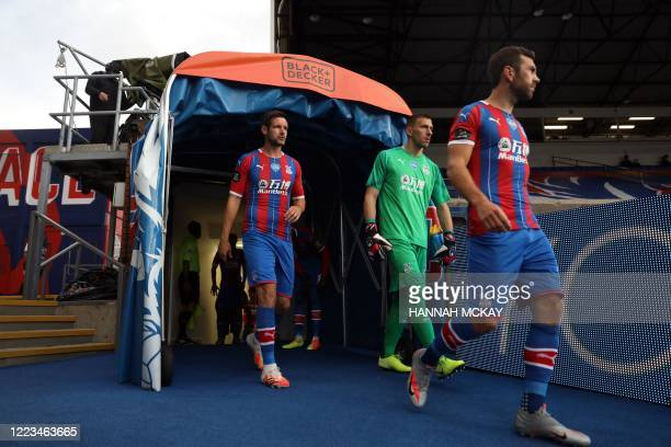 Crystal Palace players emerge from the tunnel during the English Premier League football match between Crystal Palace and Burnley at Selhurst Park in...