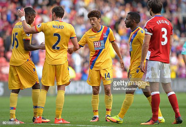 Crystal Palace players react after the game during the Premier League match between Middlesbrough and Crystal Palace at Riverside Stadium on...