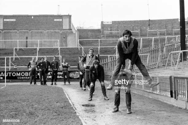Crystal Palace prepare for their home cup match v Everton Leap frog exercises for the Palace players at their ground13th January 1972