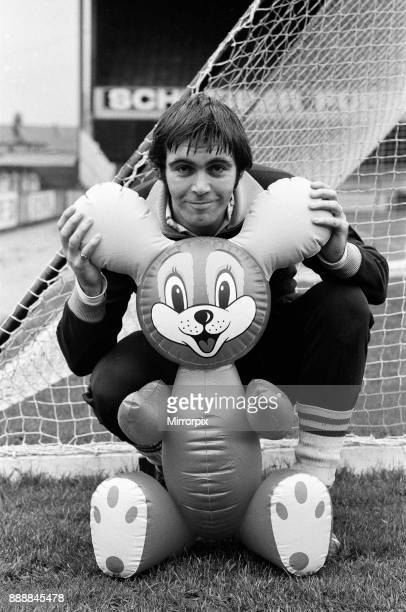 Crystal Palace prepare for their home cup match v Everton Striker John Hughes known as Yogi Bear poses with a plastic blowup animal that was sent to...