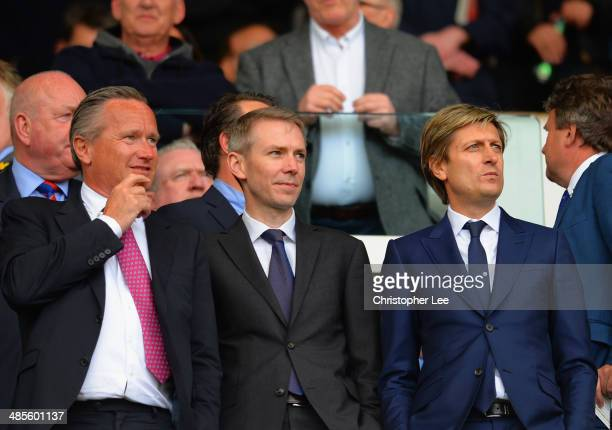 Crystal Palace sporting director Iain Moody and cochairman Steve Parish look on during the Barclays Premier League match between West Ham United and...