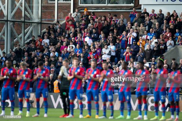 Crystal Palace squad stands on during the Premier League match between Crystal Palace and Leicester City at Selhurst Park, London on Sunday 3rd...