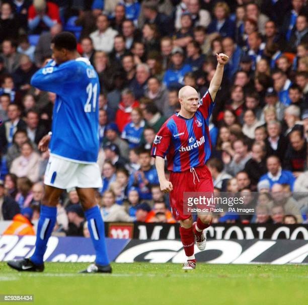 Crystal Palace striker Andrew Johnson celebrates scoring against Birmingham during the Barclays Premiership match at St Andrews THIS PICTURE CAN ONLY...