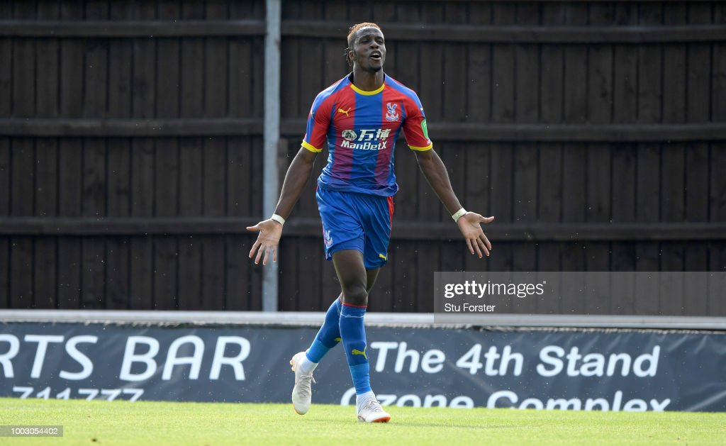 Crystal Palace striker Wilfried Zaha celebrates his goal during a Pre-Season Friendly match between Oxford United and Crystal Palce at Kassam Stadium on July 21, 2018 in Oxford, England.