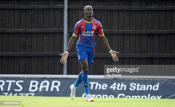 Crystal Palace striker Wilfried Zaha celebrates his goal during a PreSeason Friendly match between Oxford United and Crystal Palce at Kassam Stadium...