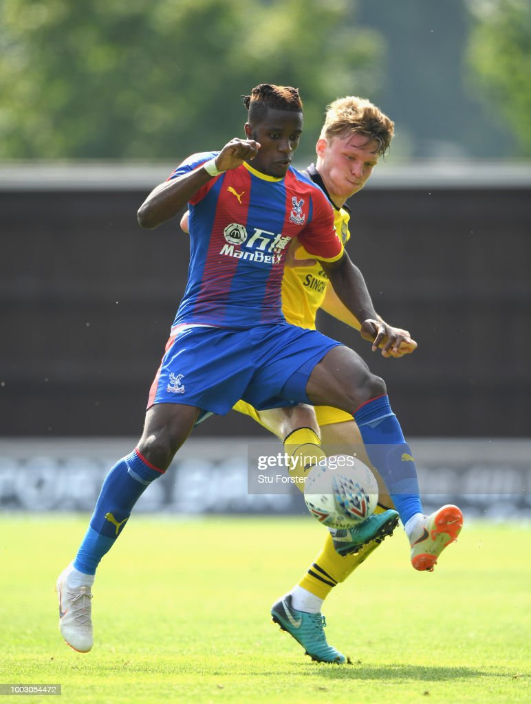 Crystal Palace striker Wilfried Zaha in action during a Pre-Season Friendly match between Oxford United and Crystal Palce at Kassam Stadium on July 21, 2018 in Oxford, England.