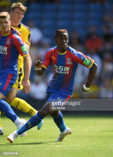 Crystal Palace striker Wilfried Zaha in action during a Pre-Season Friendly match between Oxford United and Crystal Palce at Kassam Stadium on July...