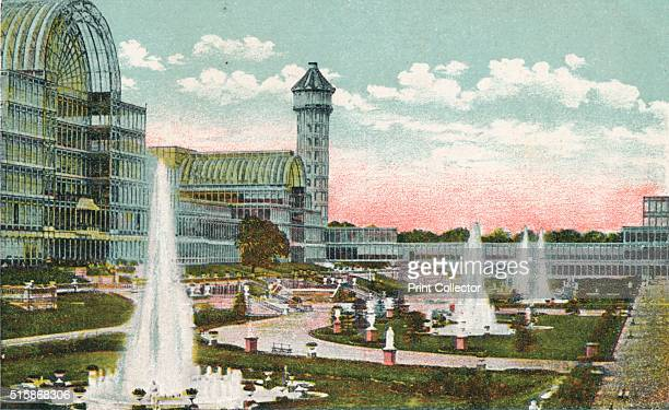 Crystal Palace Sydenham' circa 1910 The Crystal Palace erected in Hyde Park London England to house the Great Exhibition of 1851 The building was...