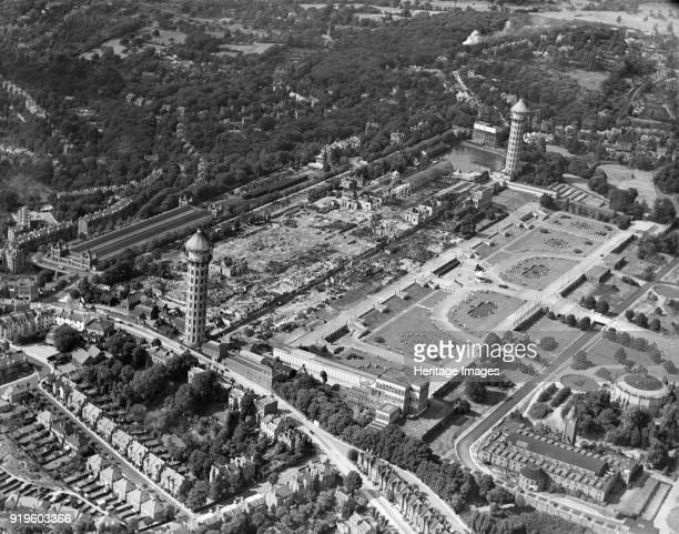 Crystal Palace Sydenham London 1937 A catastrophic fire destroyed most of the building in November 1936 Brunel's water towers were still standing...