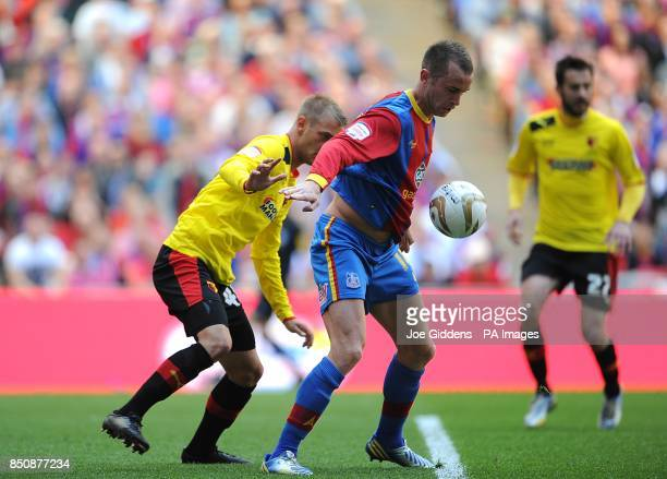 Crystal Palace's Aaron Wilbraham and Watford's Joel Ekstrand battle for the ball