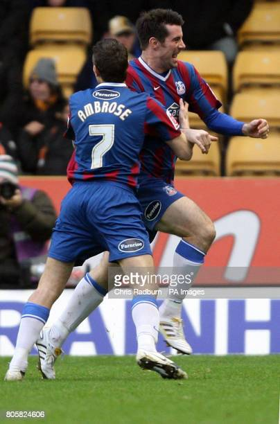 Crystal Palace's Alan Lee celebrates his goal during the FA Cup Fouth Round match at the Molineux Wolverhampton