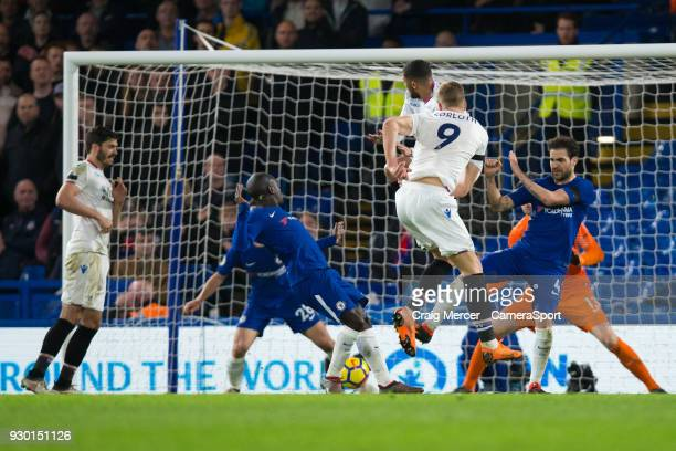 Crystal Palace's Alexander Sorloth puts the ball in the back of the net but it's disallowed during the Premier League match between Chelsea and...