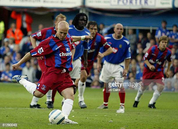 Crystal Palace's Andy Johnson has his penalty shot saved during the Barclays Premiership match between Portsmouth and Crystal Palace at Fratton Park...