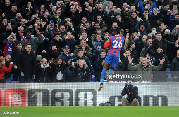 CELE Crystal Palace's Bakary Sako celebrates scoring the opening goal during the Premier League match between Crystal Palace and Burnley at Selhurst...