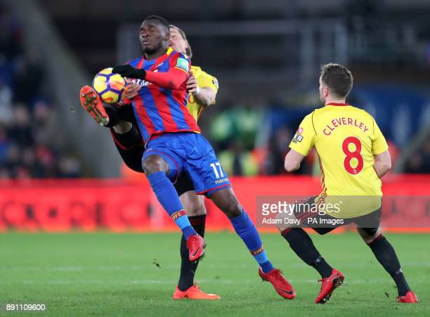 Crystal Palace's Christian Benteke and Watford's Sebastian Prodl battle for the ball during the Premier League match at Selhurst Park London