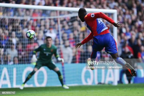 Crystal Palace's Christian Benteke fires wide during the Premier League match against Hull City at Selhurst Park on May 14 2017 in London England