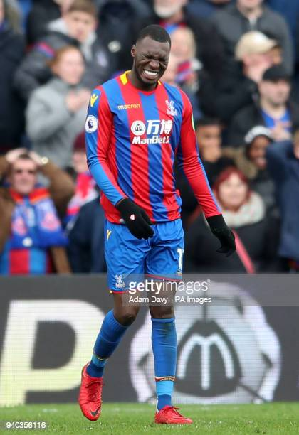 Crystal Palace's Christian Benteke reacts after missing a chance on goal during the Premier League match at Selhurst Park London