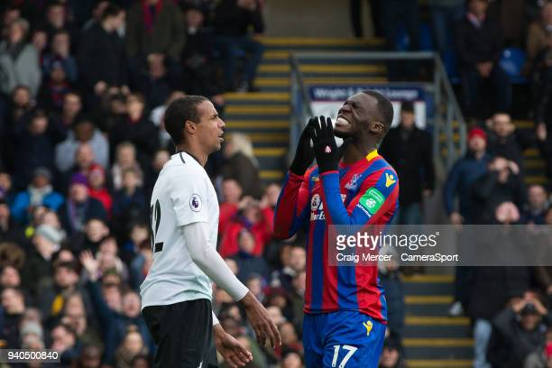 Crystal Palace's Christian Benteke reacts to a missed chance during the Premier League match between Crystal Palace and Liverpool at Selhurst Park on...