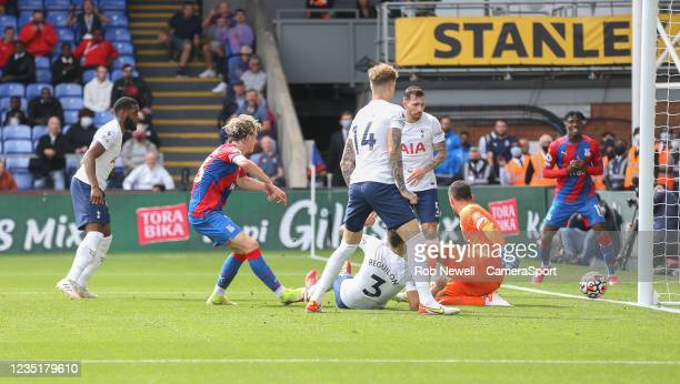 Crystal Palace's Conor Gallagher goes close in the first half during the Premier League match between Crystal Palace and Tottenham Hotspur at...