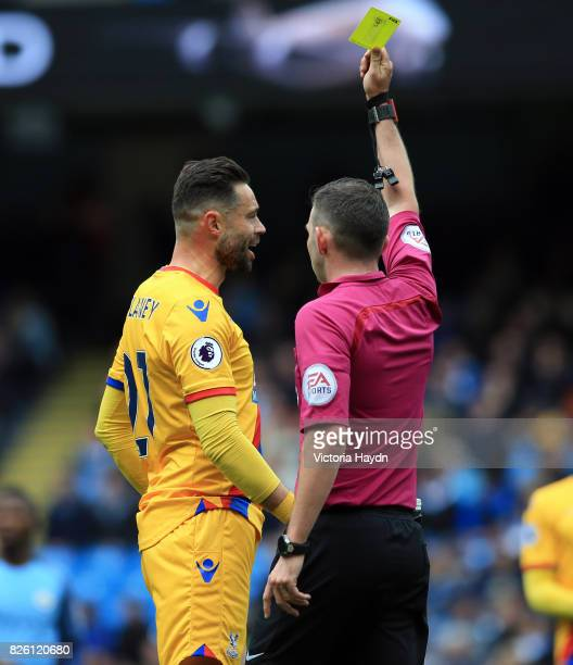 Crystal Palace's Damien Delaney is shown a yellow card
