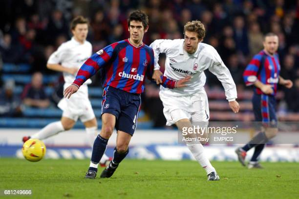 Crystal Palace's Danny Butterfield and Nottingham Forest's Gareth Williams battle for the ball