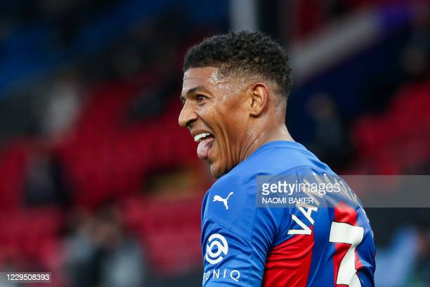 Crystal Palace's Dutch defender Patrick van Aanholt celebrates after scoring during the English Premier League football match between Crystal Palace...