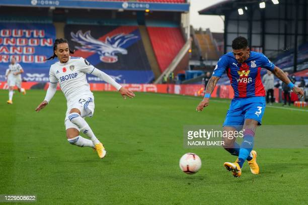 Crystal Palace's Dutch defender Patrick van Aanholt kicks the ball to score during the English Premier League football match between Crystal Palace...