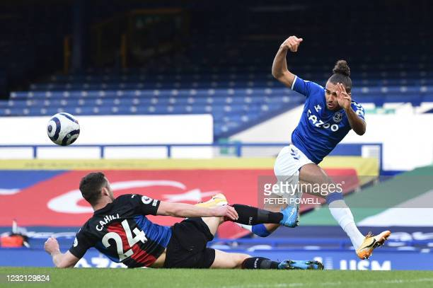 Crystal Palace's English defender Gary Cahill vies with Everton's English striker Dominic Calvert-Lewin during the English Premier League football...