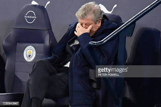Crystal Palace's English manager Roy Hodgson gestures on the touchline during the English Premier League football match between Manchester City and...