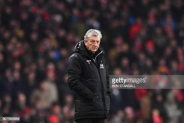 Crystal Palace's English manager Roy Hodgson looks on during the English Premier League football match between Arsenal and Crystal Palace at the...
