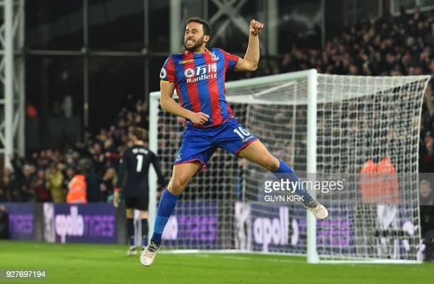 Crystal Palace's English midfielder Andros Townsend celebrates scoring the opening goal during the English Premier League football match between...