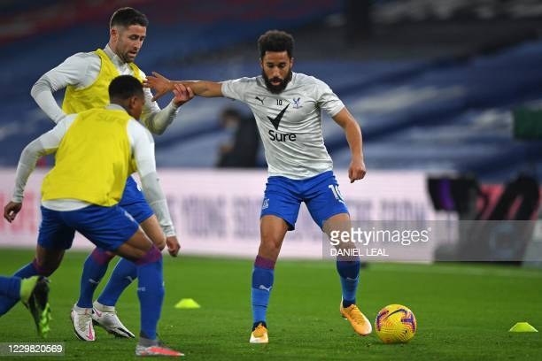 Crystal Palace's English midfielder Andros Townsend Crystal Palace's English defender Nathaniel Clyne and Crystal Palace's English defender Gary...