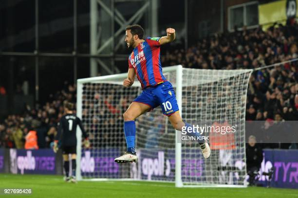 Crystal Palace's English midfielder Andros Townsend scoring the opening goal during the English Premier League football match between Crystal Palace...