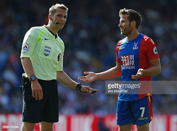 Crystal Palace's French midfielder Yohan Cabaye appeals to referee Craig Pawson during the English Premier League football match between Crystal...