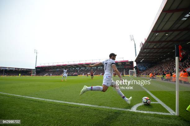 Crystal Palace's French midfielder Yohan Cabaye takes a corner during the English Premier League football match between Bournemouth and Crystal...