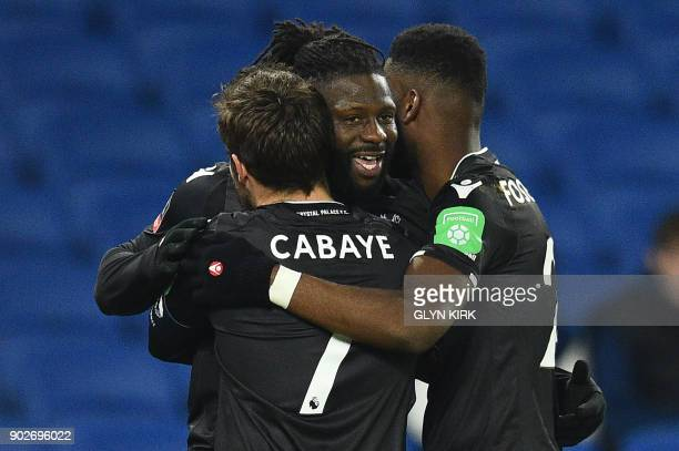 Crystal Palaces Frenchborn Malian midfielder Bakary Sako celebrates scoring his team's first goal with teammates during the English FA Cup third...