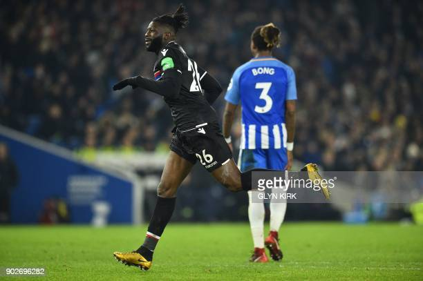 Crystal Palaces Frenchborn Malian midfielder Bakary Sako celebrates scoring his team's first goal during the English FA Cup third round football...