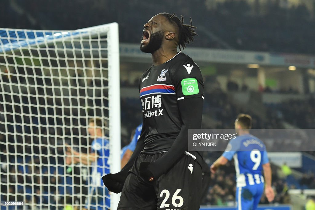Crystal Palaces French-born Malian midfielder Bakary Sako reacts to a missed chance at goal during the English FA Cup third round football match between Brighton and Hove Albion and Crystal Palace at the American Express Community Stadium in Brighton, southern England on January 8, 2018. / AFP PHOTO / Glyn KIRK / RESTRICTED TO EDITORIAL USE. No use with unauthorized audio, video, data, fixture lists, club/league logos or 'live' services. Online in-match use limited to 75 images, no video emulation. No use in betting, games or single club/league/player publications. /