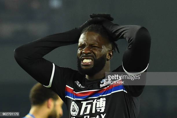 Crystal Palaces Frenchborn Malian midfielder Bakary Sako reacts to a missed chance at goal during the English FA Cup third round football match...