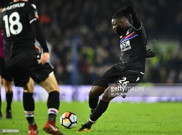 Crystal Palaces Frenchborn Malian midfielder Bakary Sako scores his team's first goal during the English FA Cup third round football match between...