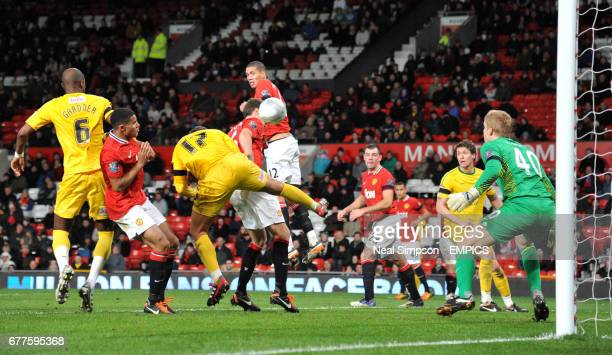 Crystal Palace's Glenn Murray heads the winning goal past Manchester United's Ben Amos