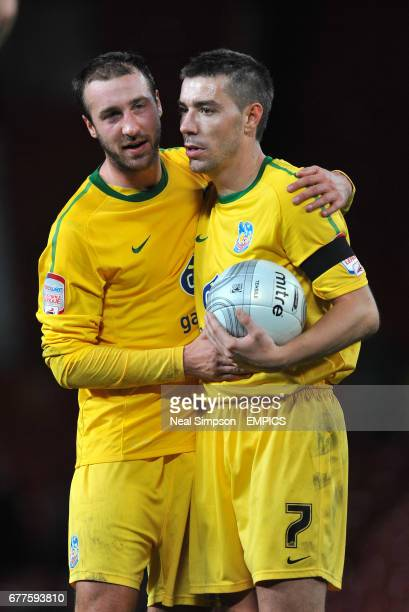 Crystal Palace's goalscorers Glenn Murray and Darren Ambrose celebrate at the final whistle