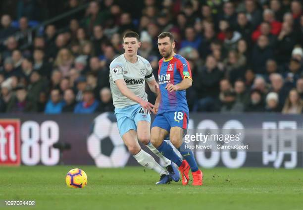 Crystal Palace's James McArthur and West Ham United's Declan Rice during the Premier League match between Crystal Palace and West Ham United at...