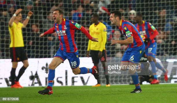 Crystal Palace's James McArthur celebrates scoring his sides second goal and winning goal during Premier League match between Crystal Palace and...