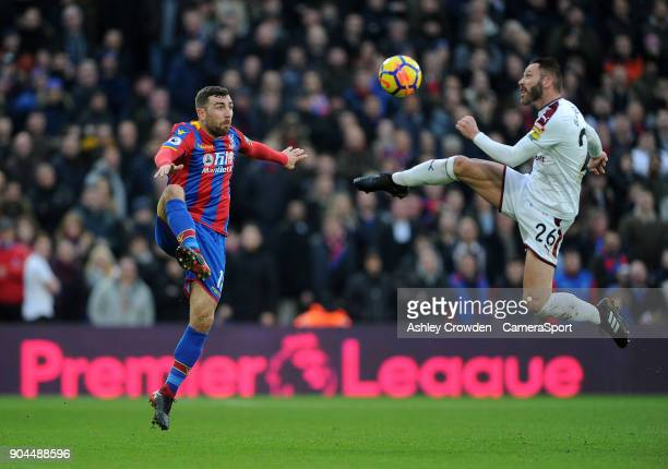 Crystal Palace's James McArthur vies for possession with Burnley's Phillip Bardsley during the Premier League match between Crystal Palace and...
